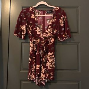 Flowery red romper